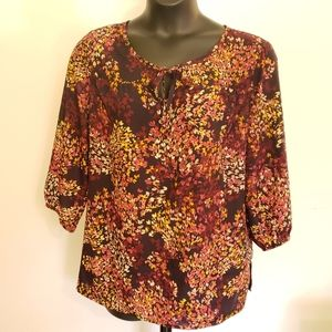 White Stag Purple Printed 3/4-Sleeve Blouse XXL(20